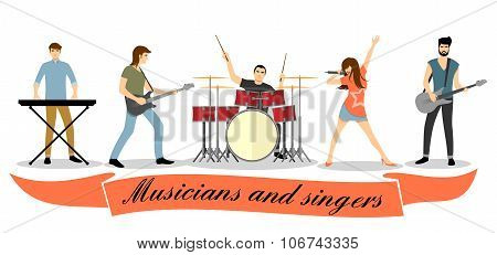 Musicians and singers vector set. Rock band concert, group performance, guitar bass, microphone and vocalist illustration poster