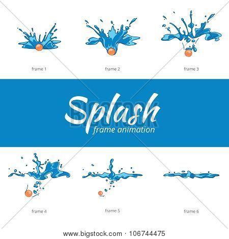 Animation water splash frames in cartoon style
