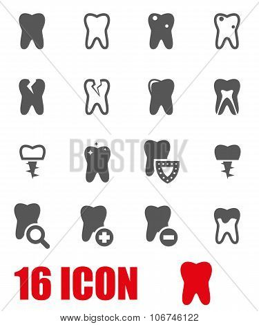 Vector Grey Teeth Icon Set