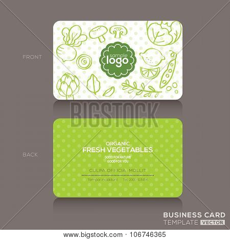 Organic Foods Shop Or Vegan Cafe Business Card Design Template