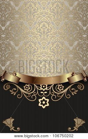 Vintage Background With Decorative Patterns And Ribbon.