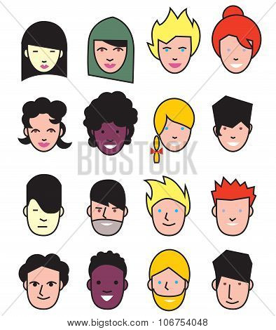 Multicultural people icons. Multicultural group of people icons. People flat icons collection. Man, woman characters. People profile. Female avatar. Multicultural people avatar. Multicultural profile.