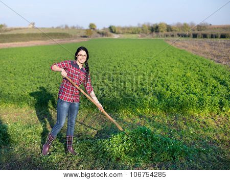 Young Woman Working In The Field