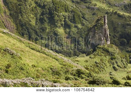 Azores Landscape With Rock And Green Vegetation In Flores Island