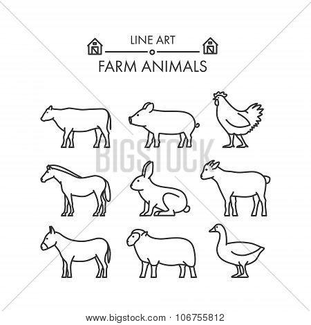 Outline Figures Of Farm Animals