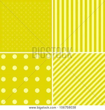 Vector Set Of 4 Retro Background Patterns