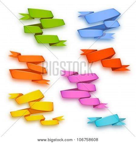 Vector set of curved ribbon paper banners