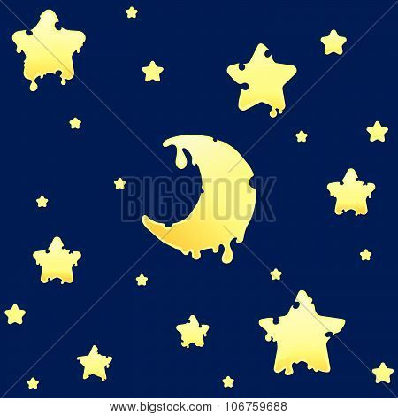 Bright seamless pattern with melting or cheesy stars and crescent, half moon in a cartoon or doodle