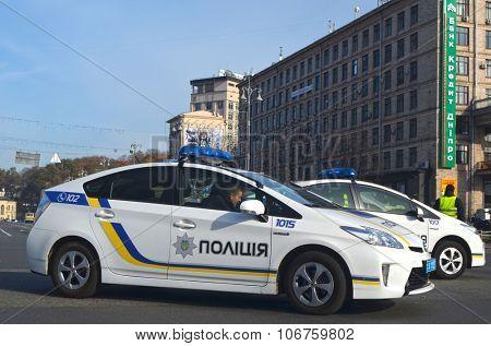 KIEV , UKRAINE - NOV 1, 2015. New Ukrainian Pro-American Police on Maidan Nezalezhnosti square. November 1, 2015 in Kiev, Ukraine