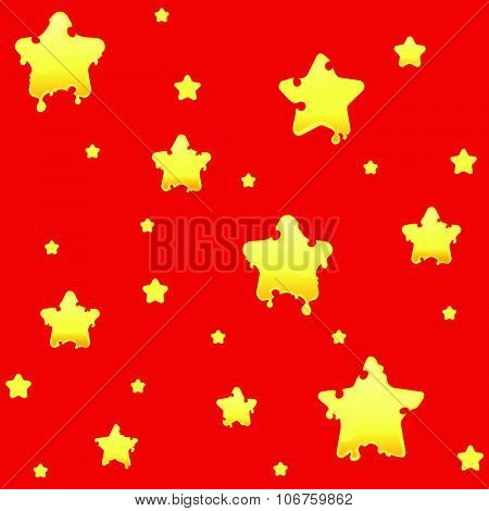 Bright seamless pattern with melting or cheesy stars in a cartoon or doodle style. Saturated and che