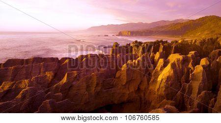Panaroma pancake rocks scenic view mountains Concept