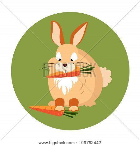 Cute Rabbit Eating a Carrot Vector