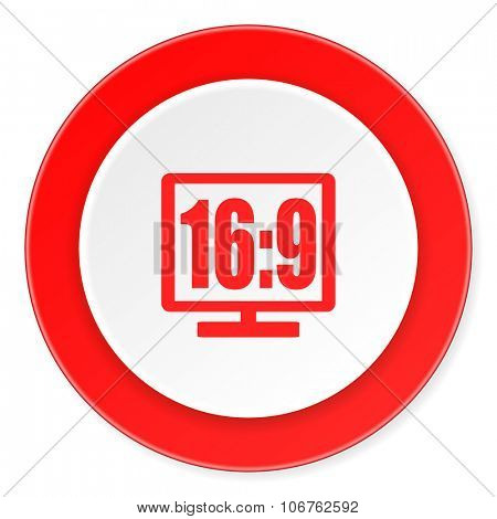 16 9 display red circle 3d modern design flat icon on white background