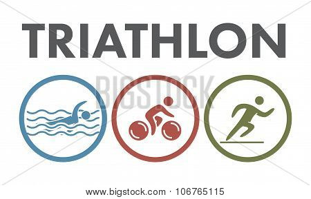 Triathlon Logo And Icon. Swimming, Cycling, Running Symbols