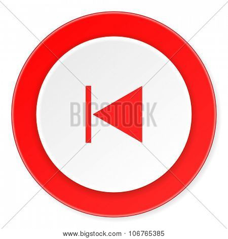 prev red circle 3d modern design flat icon on white background