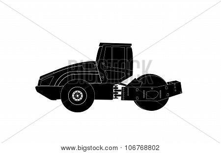 Rammer. Major Construction. Rink Asphalt. Vector Illustration.