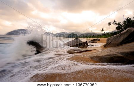 Power Sea Tropical Beach Sunset Wave Tranquil Travel Concept