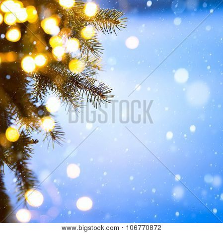 Art Christmas Tree Lights; Blue Snow Background