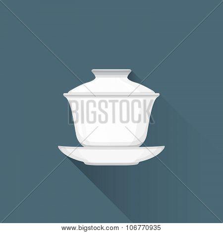 Vector Flat Chinese Tea Gaiwan Illustration Icon.