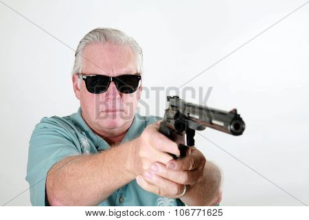 Man with gun.   a Man with a Gun or a Man with a Pistol or a Man with a .44 Magnum Revolver or a Man with a .44. Man with gun