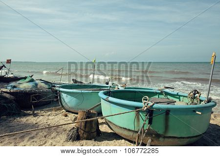 lot of fishermens boats at seacoast sunrise horisont sea
