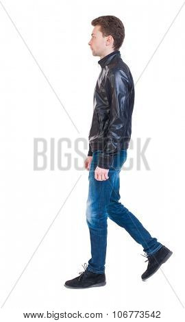 Back view of going  handsome man in jacket.  walking young guy . Rear view people collection.  backside view of person.  Isolated over white background. Sad guy in the leather jacket goes to the right poster