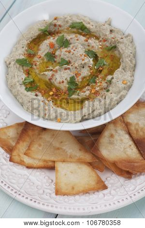 Baba ghanoush, levantine eggplant dish with parsley and olive oil