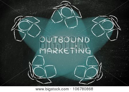 Spotlights With Text Outbound Marketing