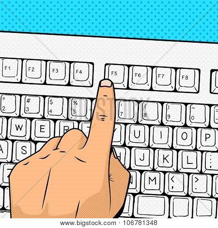 Hand press F5 key pop art style vector