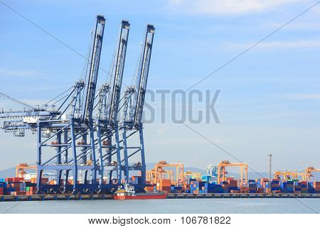 Big Industrial Port using as freight transport and global business
