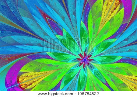 Multicolored Fractal Flower Or Butterfly In Stained-glass Window Style.