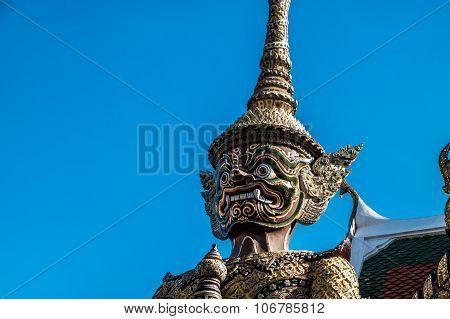 Close up giant guard face at Wat Pha Keaw