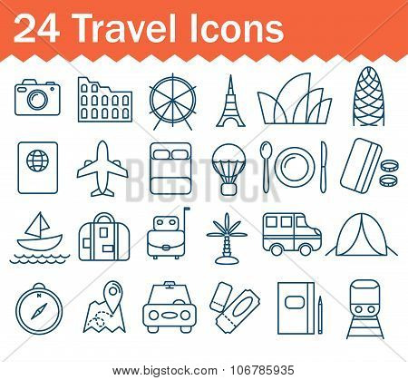 Thin Line Travel Icons Set. Outline Icon Collection.
