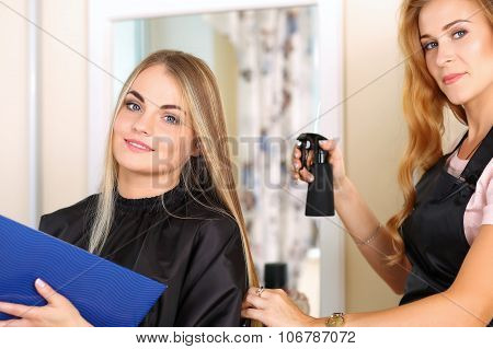Beautiful Blonde Female Hairdresser