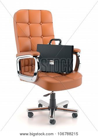 Leather Briefcase On Office Armchair Isolated On White Background 3D