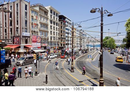 Transport Traffic And Crowd Of People On Busy City Street Of Istanbul