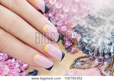 Pastel pink manicure.