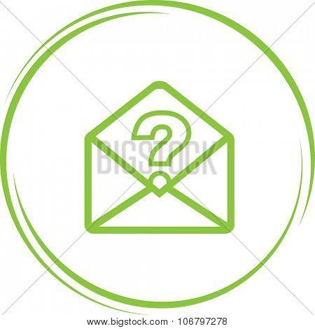 mail with query sign. Internet button. Vector icon.