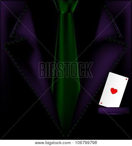 purple suit and ace of hearts