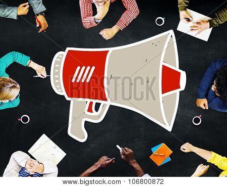 Announcement Megaphone Proclaim Message Illustration Concept