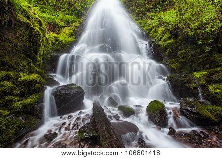 Fairy falls in Columbia River Gorge Oregon. poster