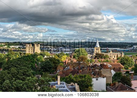 Aerial Panoramic View Of City Of Rochester In Kent, England
