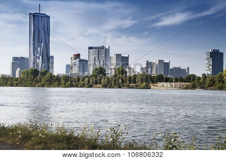 View of Vienna financial district cityscape with Danube river poster