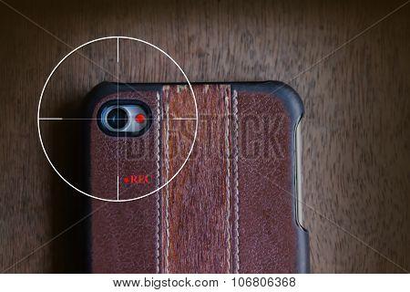 concept of mobile camera streaming live view or clip VDO recording secretly