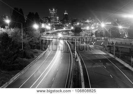 Interstate 5 Travels North Through Portland Oregon Downtown City Skyline