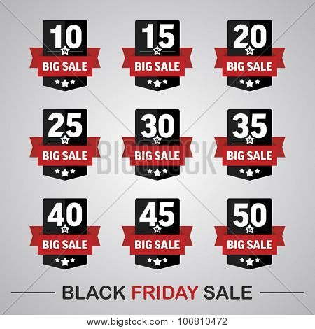 Set of labels 10-50% with text big sale for black friday sales