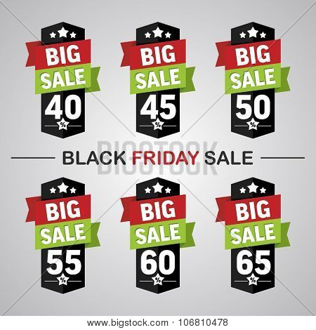 Set of labels 40-65% with text big sale for black friday sales
