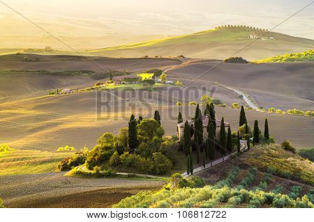 Tuscany Landscape.farmhouse in the Tuscan hills of the beautiful autumn morning
