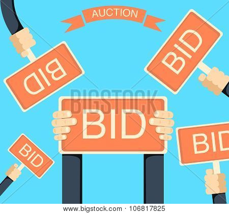Auction and bidding banner with hands holding bords