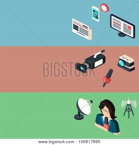 Mass media journalism broadcasting news cast banners